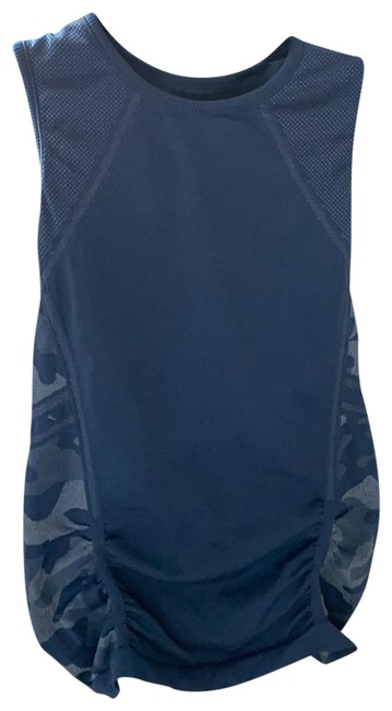 Item - Blue Shirred Activewear Top Size 4 (S)