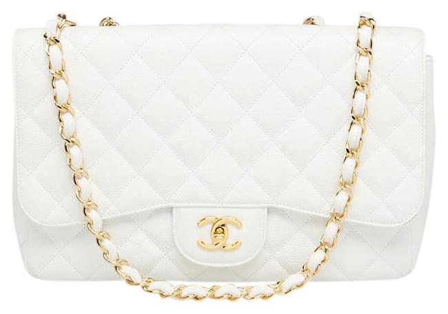 Item - Double Flap Quilted Caviar Classic Chain 65cas723 White X Gold Jumbo Shoulder Bag