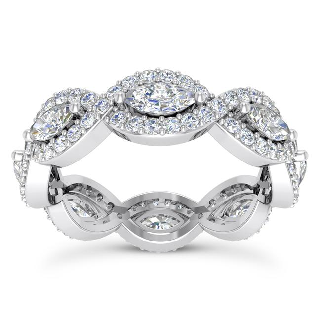 Item - 14k White Gold 2.50ct Ladies Marquise Round Cut Eternity Band Ring