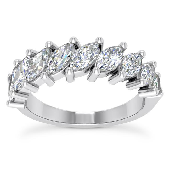 Item - 14k White Gold 1.50ct Ladies Marquise Cut Band In Ring