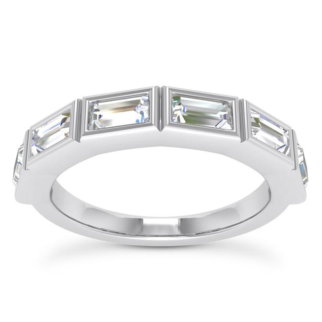 Item - 14k White Gold 0.75ct Ladies Baguette Shaped Band In Channel Setting Ring