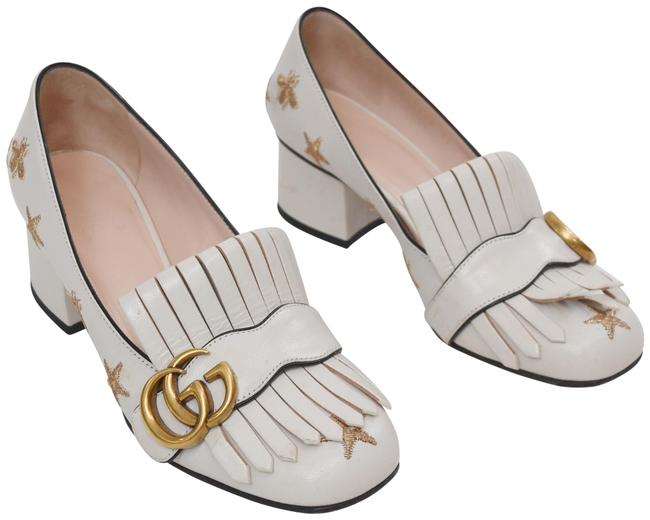 Item - White Marmont Gg Embroidered Heel 5/5.5 Pumps Size EU 35 (Approx. US 5) Regular (M, B)