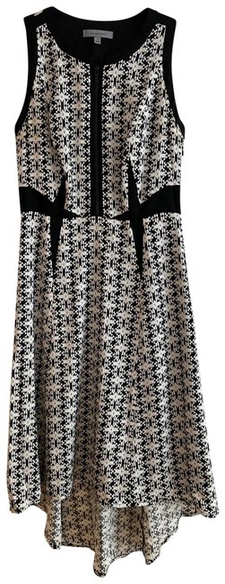 Item - Black and White Pattern Silk High-low Midi Mid-length Cocktail Dress Size 0 (XS)