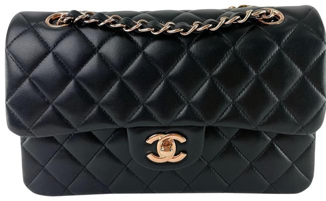 Item - Classic Flap Small with Rose Gold Hardware Black Lambskin Leather Shoulder Bag