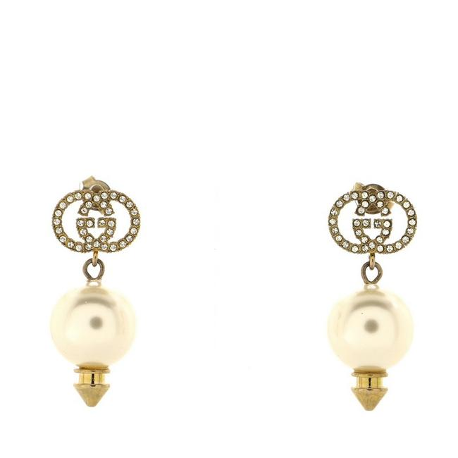 Item - Gold Interlocking G Pearl Drop Metal with Crystals and Faux Pearl Earrings
