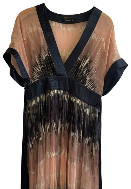 Item - Multi-colored Ombre Tie-dye Navy Blue and Pink with Gold Accents Kimono Shimmery Silk Chiffon Sheer Slip Included) Mid-length Cocktail Dress Size 0 (XS)