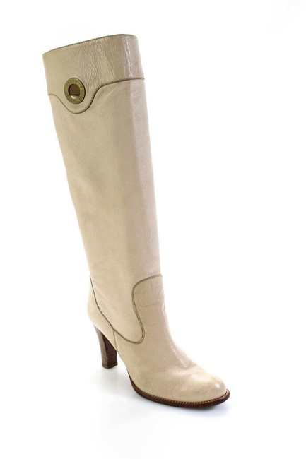 Item - Beige Womens Leather Gold Tone Zip Up Knee High 7 Boots/Booties Size EU 37.5 (Approx. US 7.5) Regular (M, B)