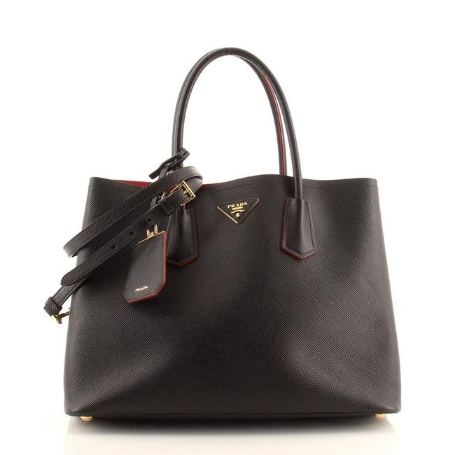 Item - Double Cuir Saffiano Large Black Leather Tote