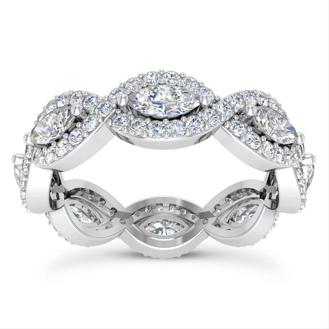 Item - 18k White Gold 2.50ct Ladies Marquise Round Cut Eternity Band Ring