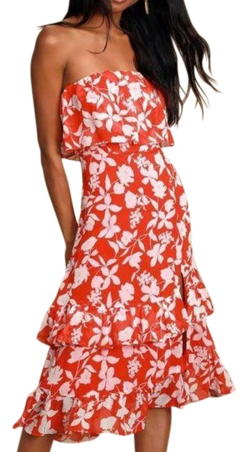 Item - Red White Paradise Is Waiting Mid-length Casual Maxi Dress Size 4 (S)