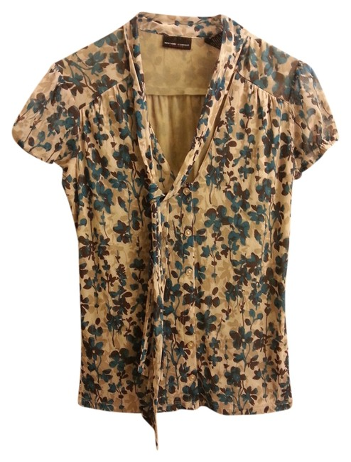 New York & Company Tie Floral Top Teal