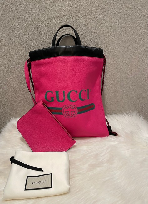 Item - Drawstring New Pink Leather Backpack