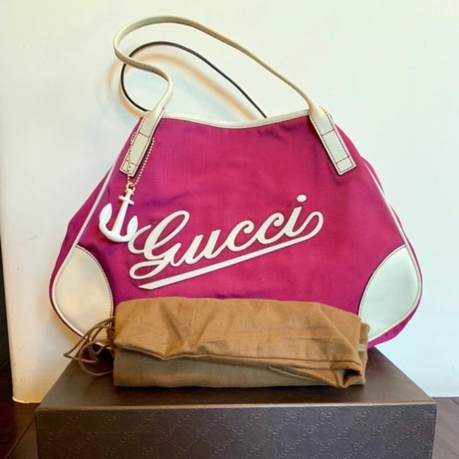 Item - Bag And Boulevard Satchel/Tote with On Front Bubblegum Pink/White Logo Heavy Canvas/Leather Tote