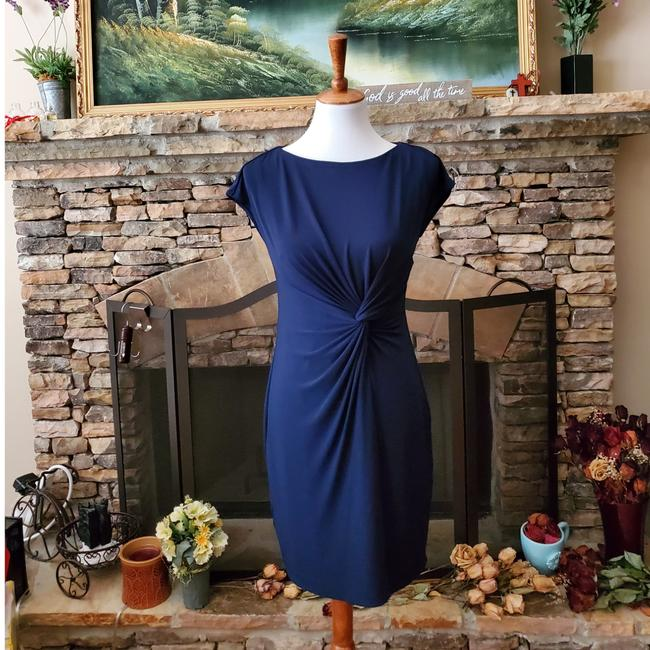 Item - Navy Blue Twist Jin By Front Sleeveless Mid-length Work/Office Dress Size Petite 6 (S)
