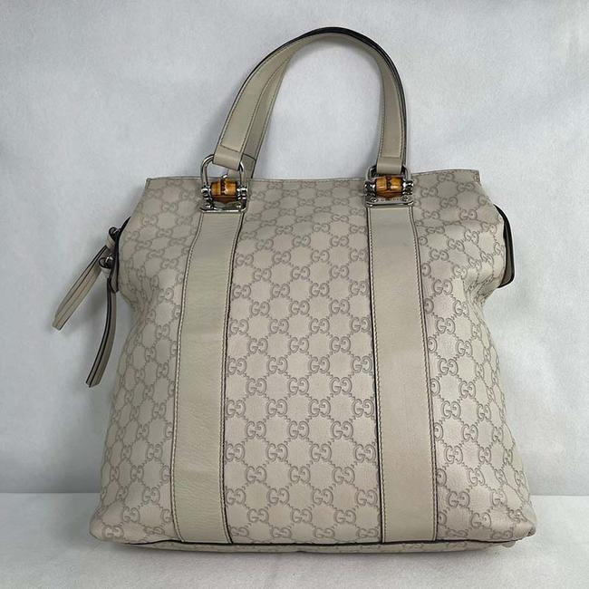 Item - Shopper Tote Bamboo 355773 Off White ssima Leather Shoulder Bag