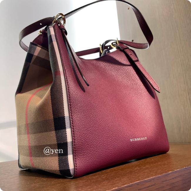Item - Bag House Check Durby Canterbury Mahogany Red Leather Tote