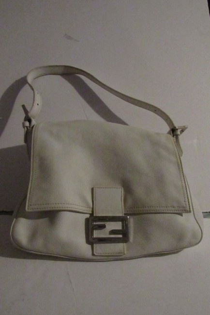 Item - W 'mamma Forever' Clasp White Leather/Chrome Lambskin Shoulder Bag