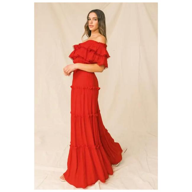 Item - Red Solid Color Maxi Long Cocktail Dress Size 8 (M)