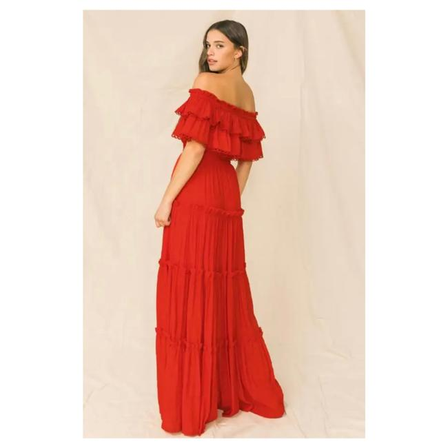Item - Red Solid Color Maxi Long Cocktail Dress Size 12 (L)