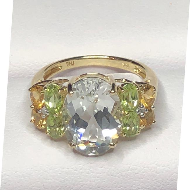 Item - Green Clear Yellow & Yellow Gold 10kt Multicolor Stone Ring