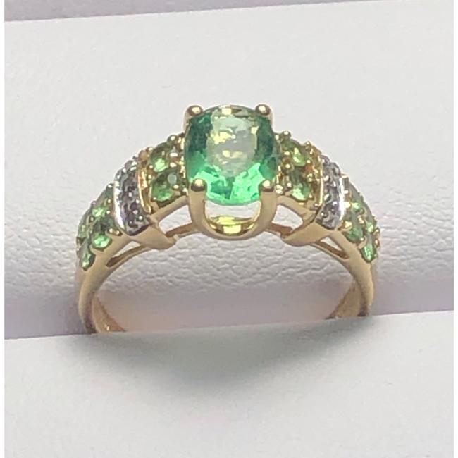 Item - Green and Yellow Gold 14kt Three Stone Ring