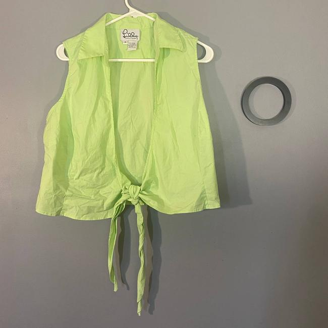 Item - Lime Green Tie Front Blouse Size 14 (L)