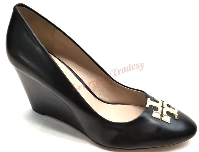 Item - Black Leather Raleigh Round Toe Pumps Wedges Size US 10.5 Regular (M, B)