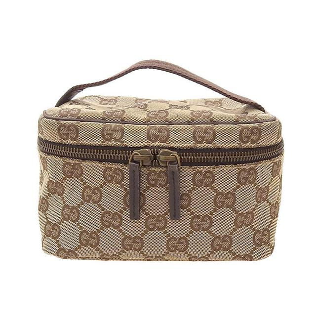 Item - Vanity Pouch 106646 Beige Gg Canvas / Leather Clutch