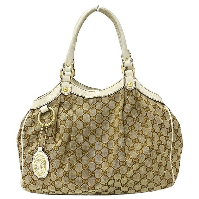 Item - Bag Gg Ladies 211944 Beige Brown / White Canvas / Leather Tote