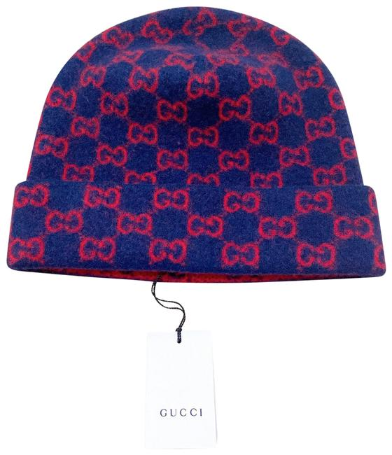 Item - Navy and Red Gg Wool Beanie/ Hat Hair Accessory