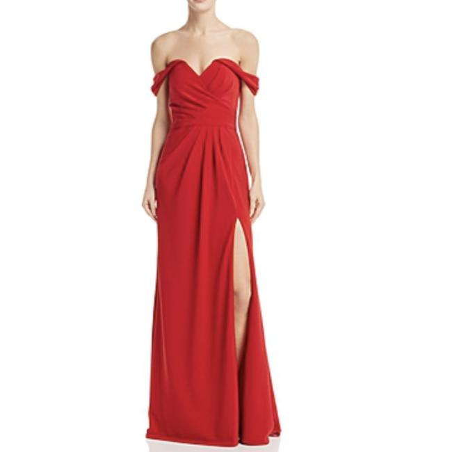 Item - Red Off-the-shoulder Draped Gown New Formal Dress Size 2 (XS)