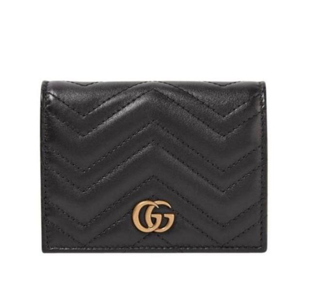Item - Black Marmont New Gg Gg Quilted Card Case Leather Wallet