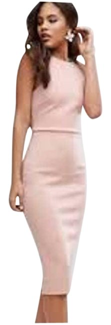 Item - Pink Scuba Bow Back High Neck Short Casual Dress Size 6 (S)