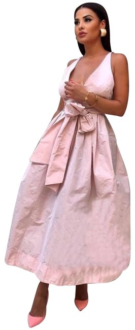 Item - Pink Voluminous with Bow Belt Casual Maxi Dress Size 8 (M)