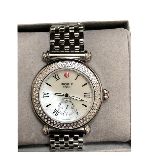 Item - Silver Caber Diamond Mother-of-pearl Dial Watch