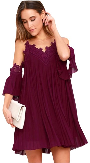 Item - Red Give Thanks Burgundy Lace Off Shoulder Cocktail Dress Size 0 (XS)