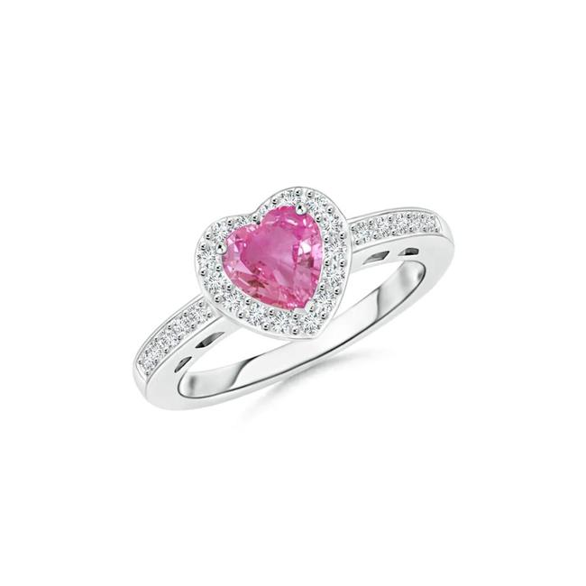 Item - 18k White Gold 1.05ct Heart-shaped Pink Sapphire Halo with Accents Ring