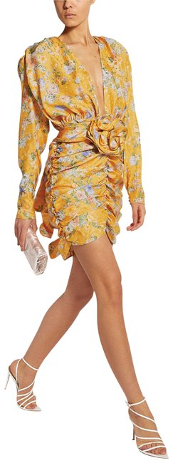 Item - Yellow Multiple 36(4) Rushed Short Night Out Dress Size 6 (S)