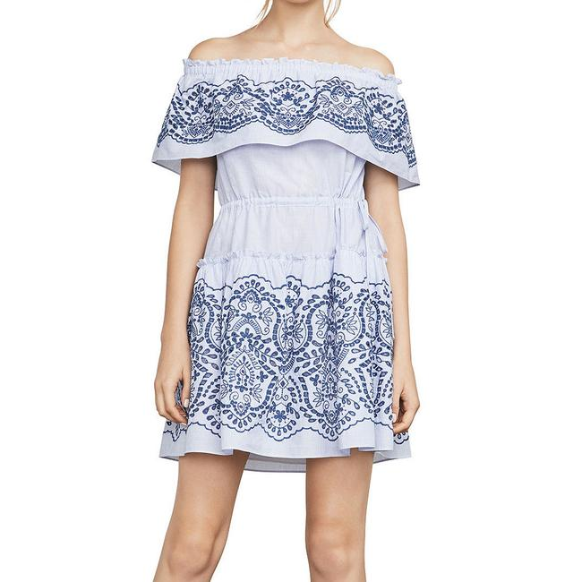 Item - Chambray White L Zoey Stripe Embroidered Off The Shoulder Short Casual Dress Size 12 (L)
