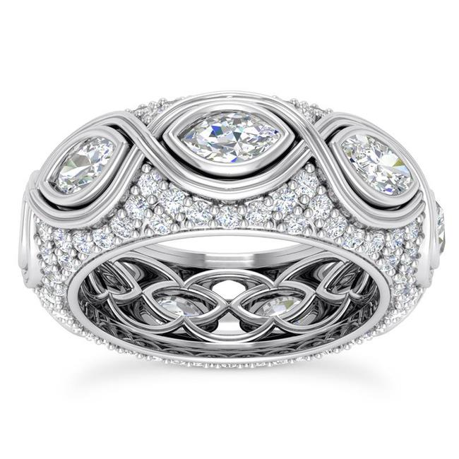 Item - 14k White Gold 3.75ct Ladies Marquise Round Cut Eternity Band Ring