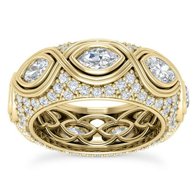 Item - 14k Yellow Gold 3.75ct Ladies Marquise Round Cut Eternity Band Ring
