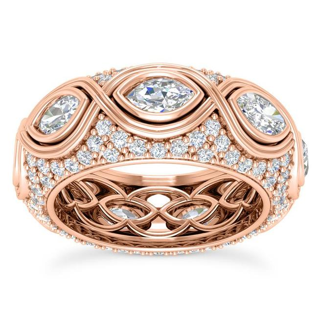 Item - 14k Rose Gold 3.75ct Ladies Marquise Round Cut Eternity Band Ring