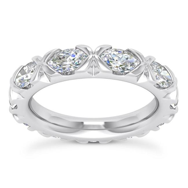 Item - 14k White Gold 2.50ct Ladies Marquise Cut Eternity Band Ring