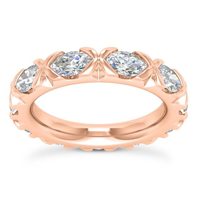 Item - 14k Rose Gold 2.50ct Ladies Marquise Cut Eternity Band Ring