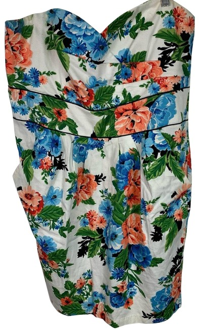 Item - White Floral Strapless Spring Womens Short Casual Dress Size 18 (XL, Plus 0x)