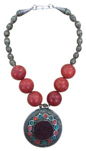 Vintage Antique Afghani Tribal Necklace with Huge Medallion, African beads and Coral Beads