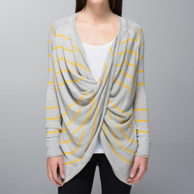 Item - Striped Twist-and-wrap Gray Gold Sweater