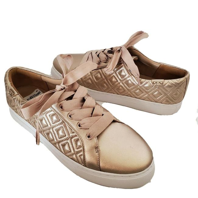 Item - Gold Marion Quilted Metallic Soft Leather Lace Up Quilted Sneakers Size US 10 Regular (M, B)