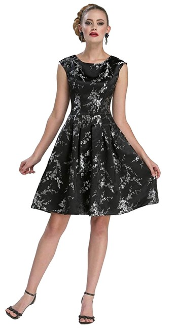 Item - Black and Silver C3431 Short Cocktail Dress Size 0 (XS)