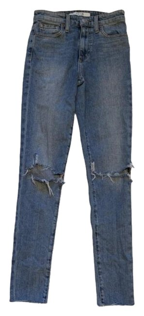 Item - Blue Distressed High Rise Ankle Light Wash Skinny Jeans Size 24 (0, XS)
